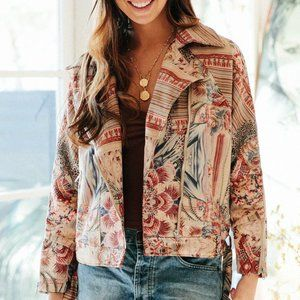 Jaase Nixie Moto Biker Bomber Boho Jacket Medium